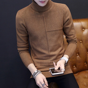 2016 new Korean Polo neck long sleeved T-shirt male clothes slim shirt trend of men's sweater