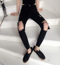 Vintage air personalities in Hong Kong black denim slim tall beggar pants waist hole nine pencil pants feet pants women