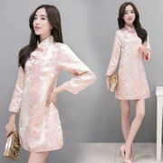 Small good Chinese Embroidery Flower brocade, and improved hand clip long sleeved cotton dress cheongsam in A