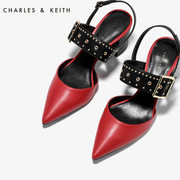 CHARLES& KEITH single shoes, Ms. CK1-60280084, pointed punk, rivets, coarse heel shoes