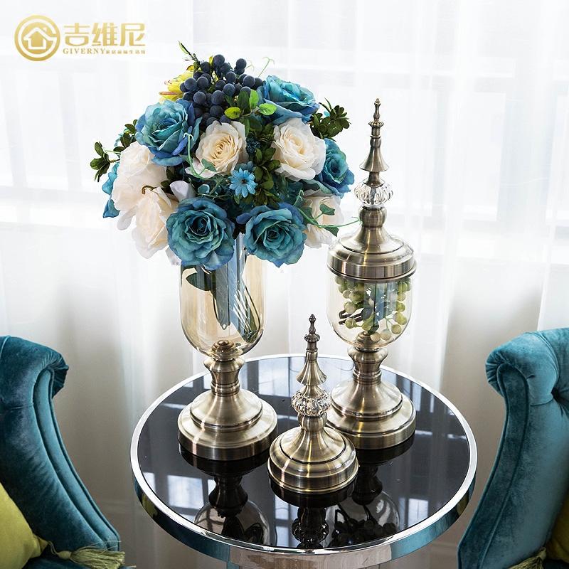 水晶美式玻璃创意现代家居装饰品客厅电视柜摆件装饰欧式酒柜花瓶