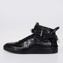 Global purchasing purchasing genuine Buscemi man 100mm Black Crocodile Leather shoes lock high shoes
