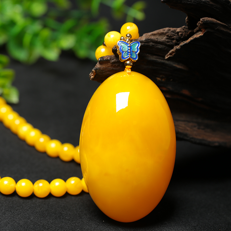 Near the end of one yuan auction # chicken oil yellow old Beeswax Amber Teardrop Shaped Pendant Necklace Pendant m ore