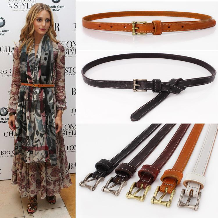 Simple all-match head layer leather leather female skirt sweater decoration fine female fashion Black Belt