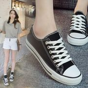 Spring low black canvas shoes all-match casual shoes Korean flat shoes Harajuku ball students ulzzang