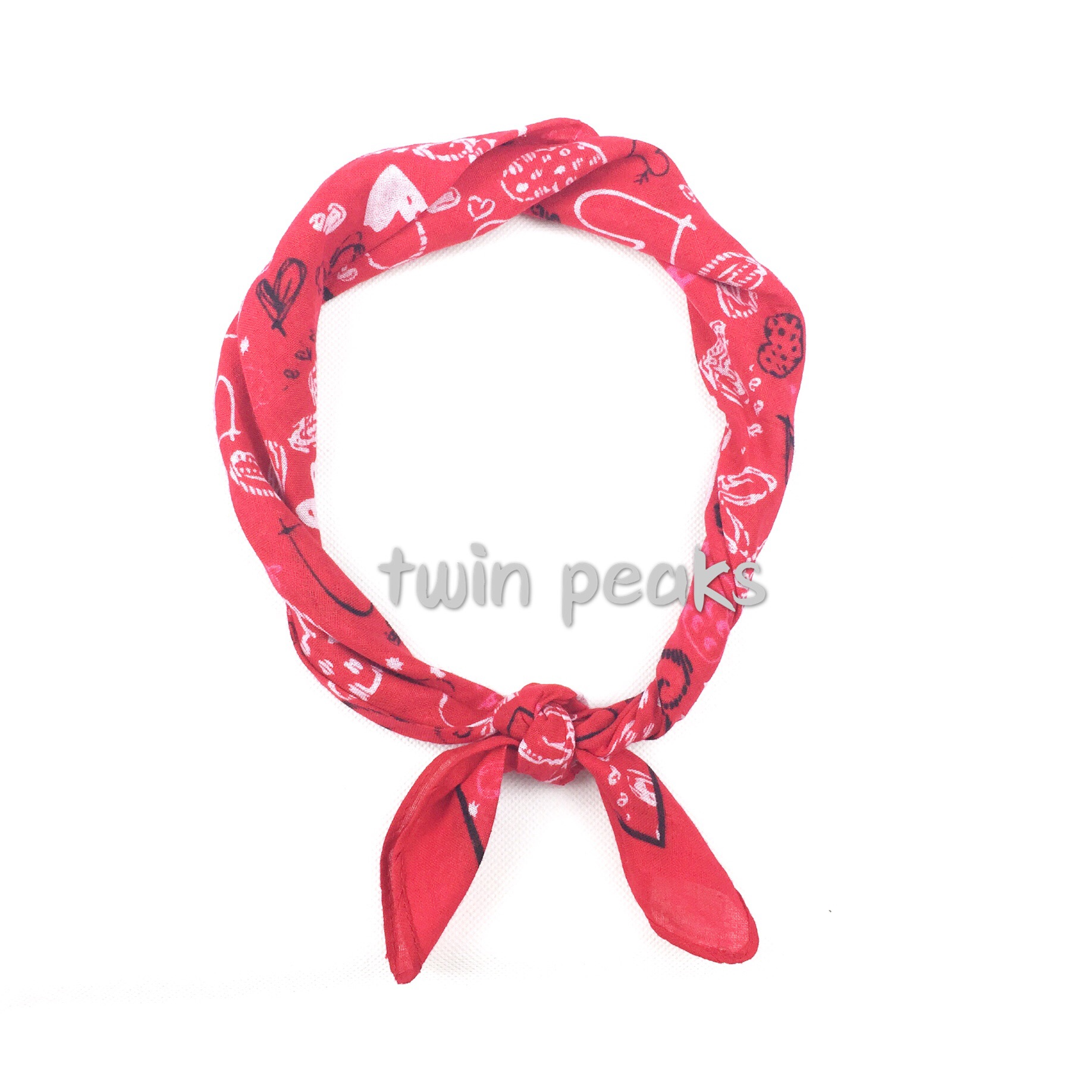 Quan Zhilong love honey girl hip-hop graffiti small cotton fashion scarves red scarf band