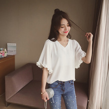 Summer new Korean version of the pure color V Collar Chiffon Shirt Short Sleeved Shirt Blouse