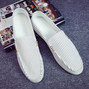 Summer ventilated bean shoes, Korean trend, men's shoes, summer men, old Beijing, casual canvas, lazy white shoes