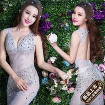 New perspective of high-end diamond jewelry Club sexy night dress female dress hosts fashion show stage outfits