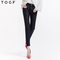 TOGF autumn new Korean version of the slim dark jeans slim woman feet pants casual Joker imported fabrics