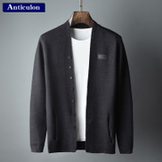 The new spring knit cardigan jacket casual fashion color thin men wear sweater buttons slim male boom sweater