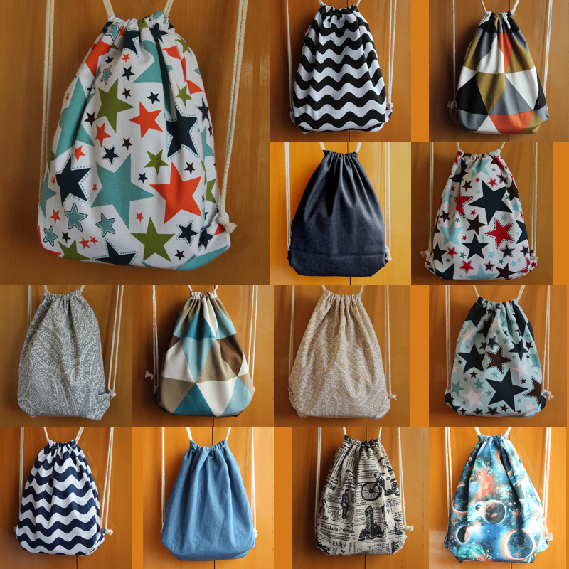 Color cow small pure and fresh and lovely art draw string beam pocket shoulders canvas bag rope bag handbag backpack