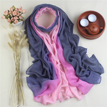 Spring Korea wild scarf dual female cotton linen scarf edges shawl gradient scarf for fall winter summer
