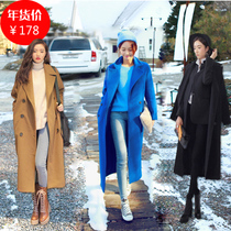 Fall winter 2014 New England plus long double-breasted woolen overcoat-like female boomers woolen cloth coat