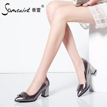 Fragrant Lily crude with high heel shoes women fashion elegant commuter bows pointed shoes rough with Jurchen Pi Chun