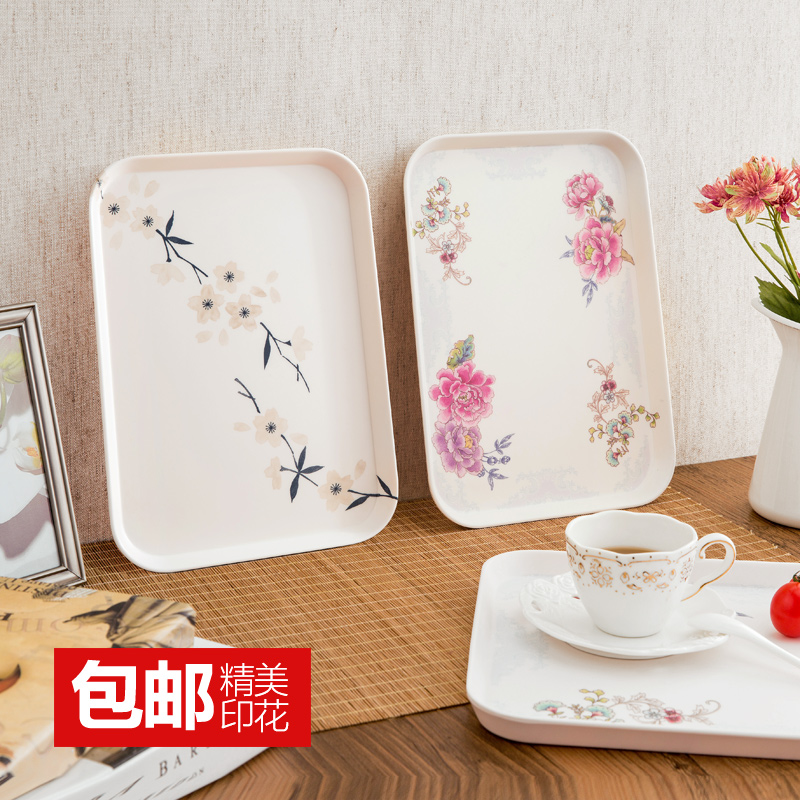 Occupy the home Rectangular tray Korean melamine tableware dinner plate creative household large tea tray glass plates