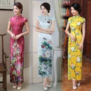 2017 new spring and autumn fashion cheongsam retro cheongsam dress long modified Chinese banquet etiquette dress