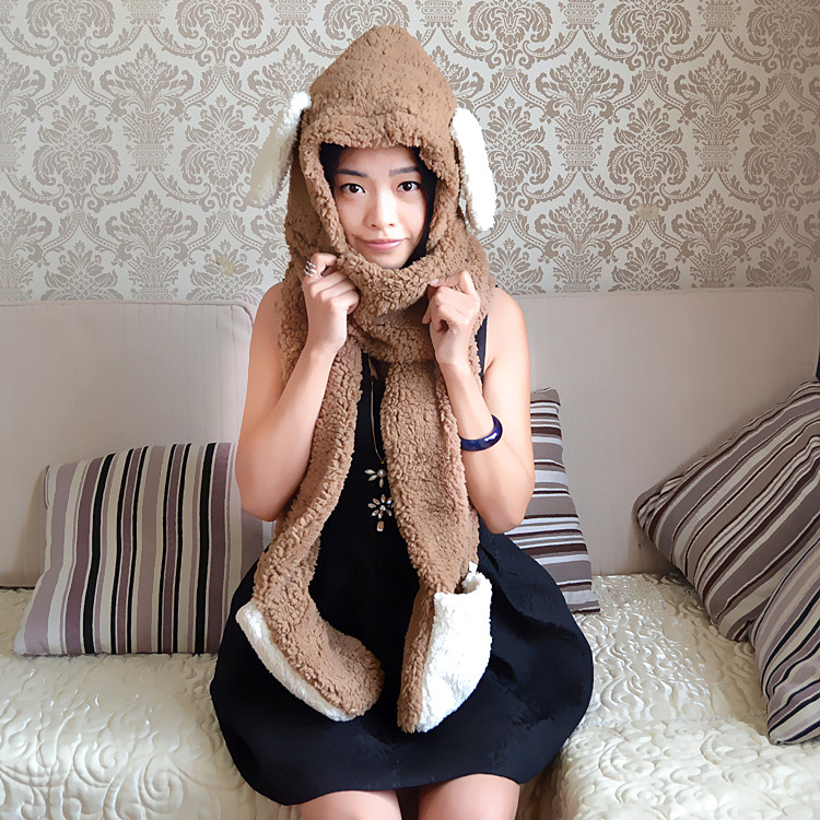 Pack the post thick warm autumn winter lady lovely cartoon rabbit ear lamb hat scarf glove body cap