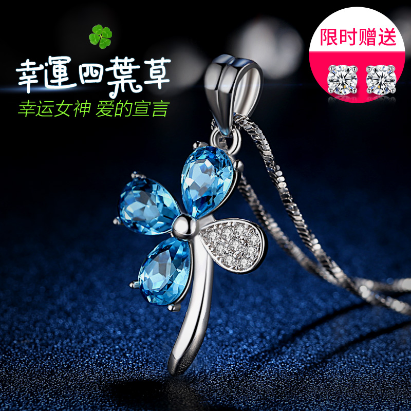 Dammam new silk clover female silver necklace Korean fashion Crystal Pendant 925 sterling silver jewelry chain female clavicle