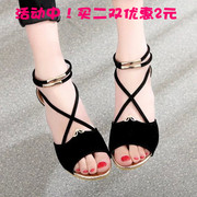 2017 new student summer sandals female comfortable slip slope with low package with Yuzhui Rome sandals