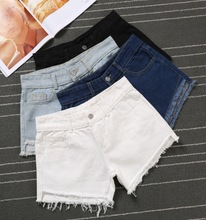 High waisted denim shorts female fat summer MM new BF students loose thin hole edge fringed black hot pants