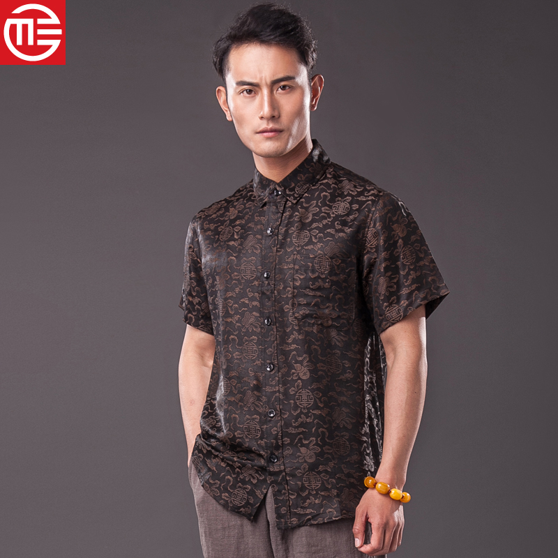 Chinese male silk silk silk blouse Chinese retro short sleeved summer wind Chinese auspicious clouds father put