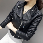 Leather female short locomotive slim leather jacket small leather female Korean PU 2017 spring new dress coat