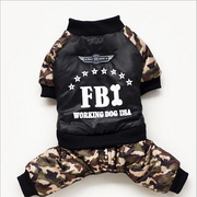 New FBI Camo thickening coat Teddy dog ​​clothes autumn and winter VIP pet four-legged clothes