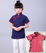 New children in mourning clothes in summer girls short sleeve Chinese costume Chinese youngster Han Chinese dress in costume half sleeve