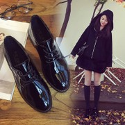 Autumn and winter England College wind thick with small leather shoes patent leather lace vintage Oxford shoes pointed black plus cashmere women's shoes