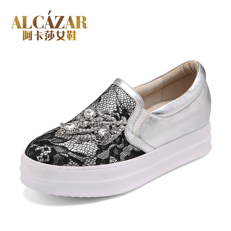 Akasha official flagship store leather sexy lace diamond buckle shoes with higher platform Lok Fu