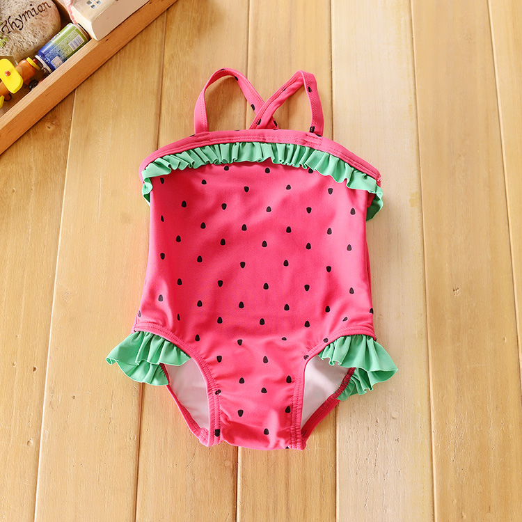 Sport Shoppe quality children's clothes girls conjoined fashion Strawberry dots swimwear