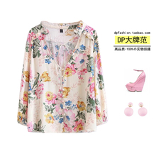 Bohemia 2017 new summer holiday style retro stamp loose thin shirt female breasted tether