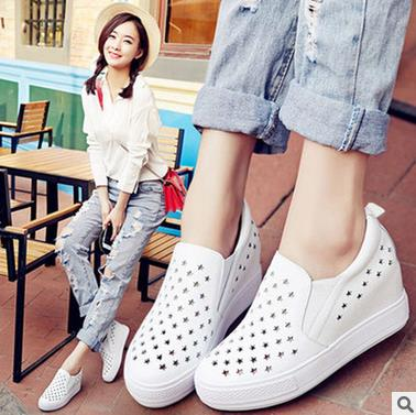 Women's 2017 years small white leather shoes increased slope with thick bottom lazy people of Lok Fu shoes sports shoes