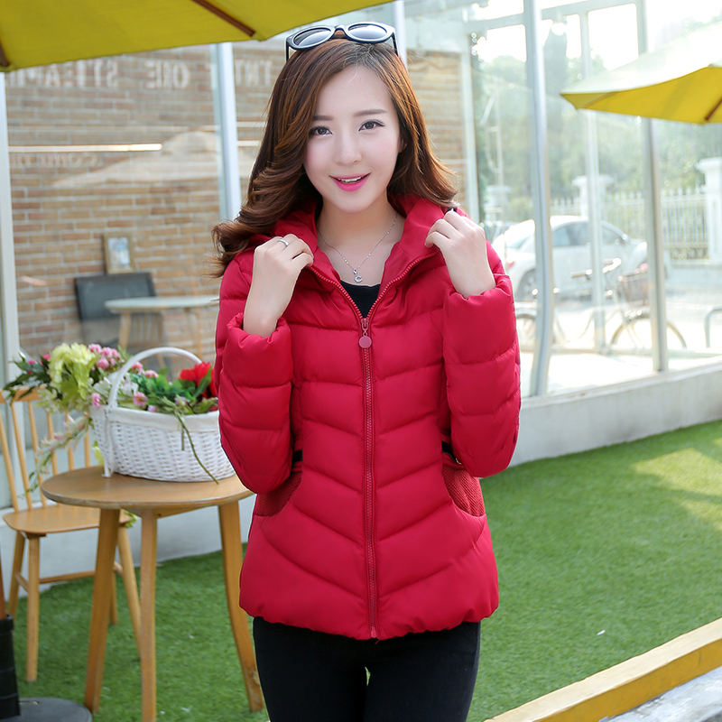 Cotton-padded jacket woman with short South Korea in the fall and winter of 2015 pure color long sleeve hooded cultivate one's morality show thin boom down cotton-padded jacket