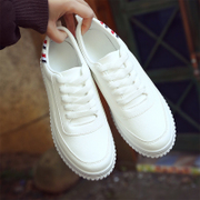 Summer all-match Street white shoe leather Student Korean white canvas shoes soled shoes casual shoes wind in Hong Kong