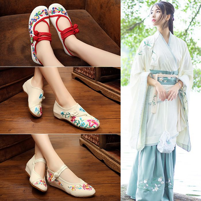 The ancient folk style old white children shoes embroidered shoes shoes shoes shoes all-match traditional costume Hanfu students