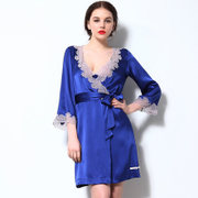 Autumn and winter clothing Home Furnishing sang Luo silk H038 sexy deep V woman bathrobe Nightgown Pajamas silk tie