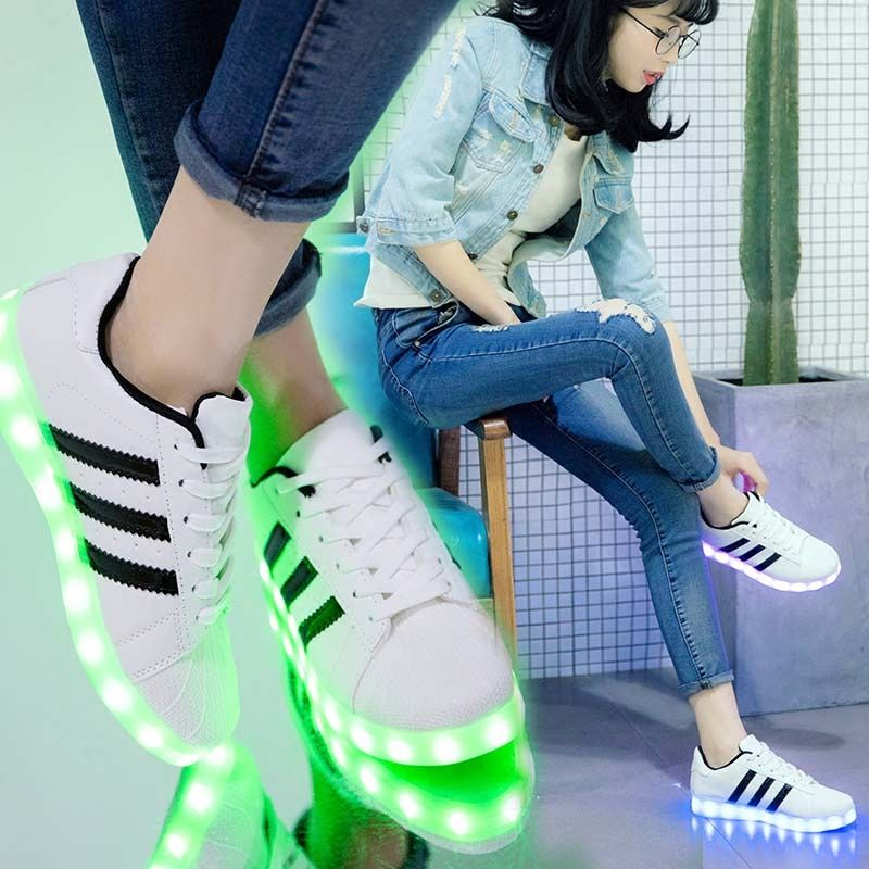 Dancing Ghost Shoes Waterproof female students Korean version hundred couples Flash USB charge Colorful luminous fluorescent shoes