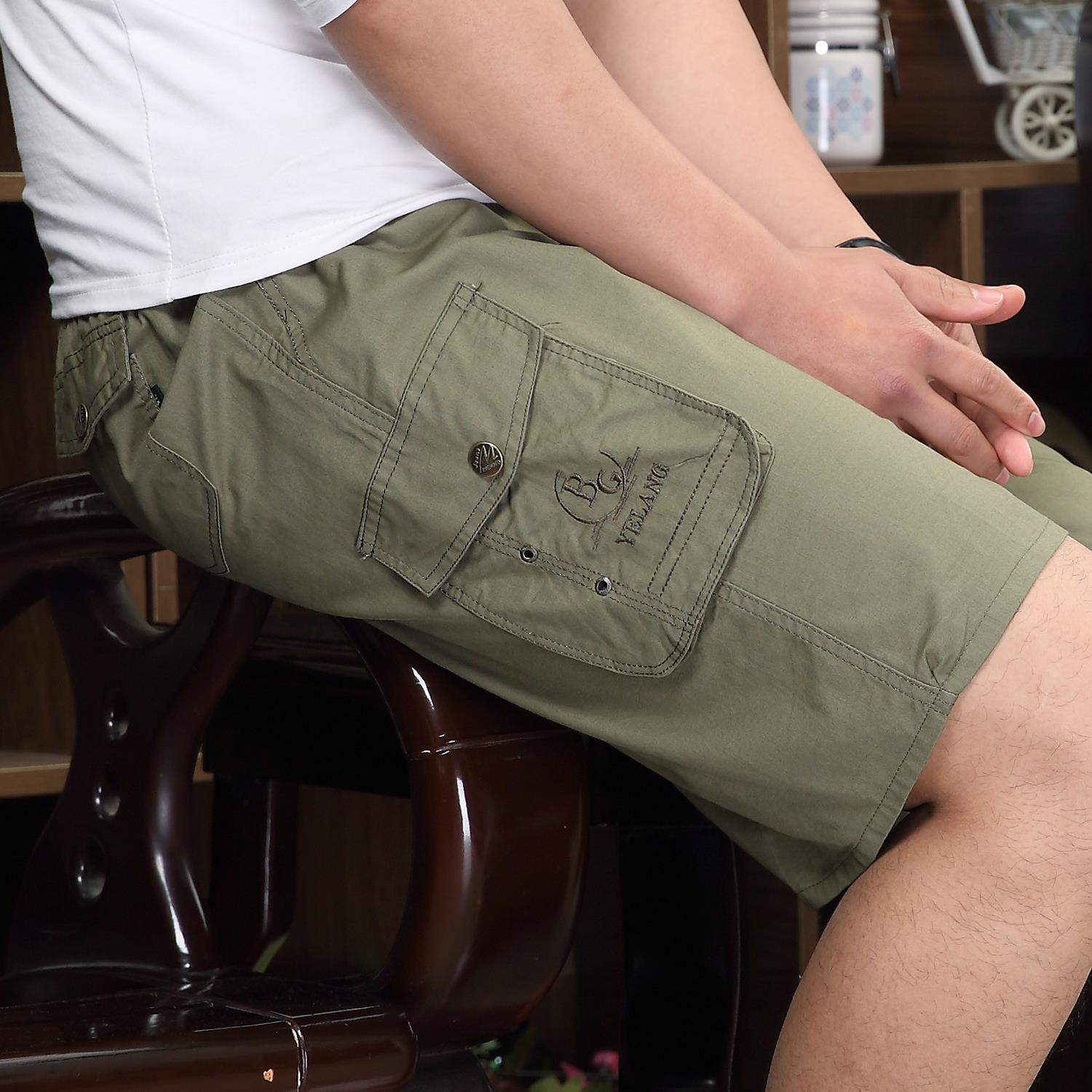 Summer shorts in middle age male leisure 5 minutes of pants cotton dad older elastic big yards loose sand beach pants