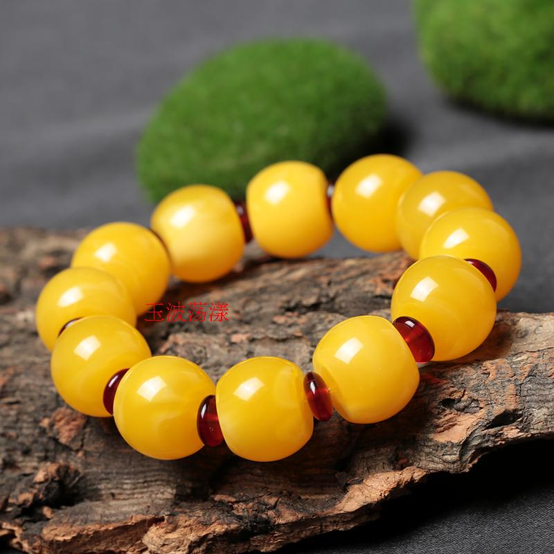 The auction will end @ chicken oil yellow beeswax beads amber bracelet bracelets Succinum beads of certificate