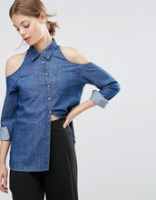 The British purchasing 2016 Hitz ASOS ultrafast MS Denim washed blue Strapless long sleeved denim shirt