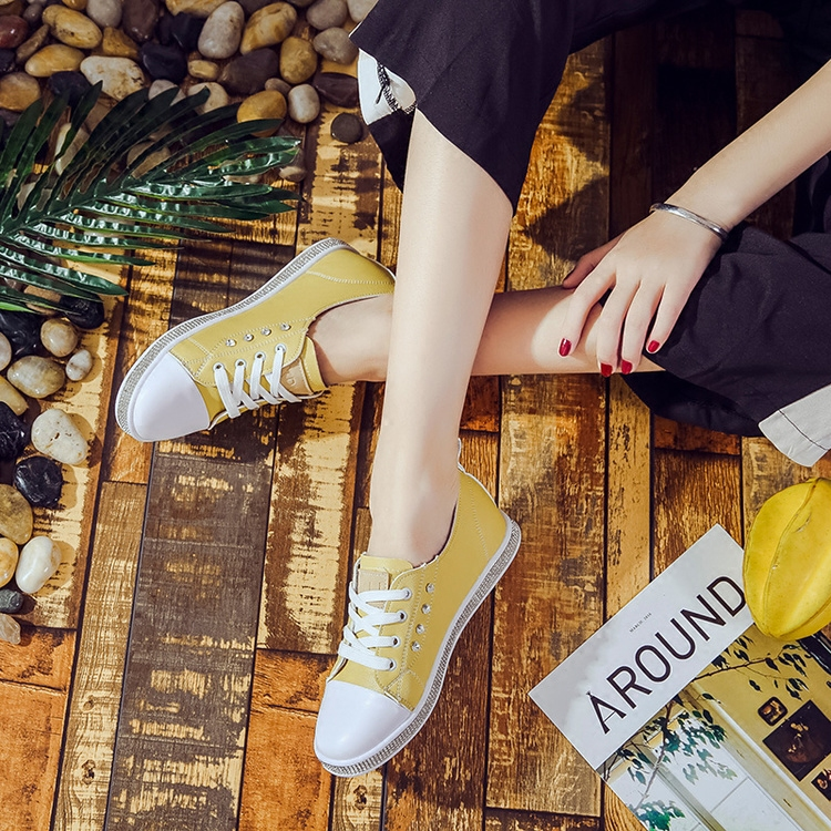 In the autumn of 2017 increase in new single flat lace up shoes Gucci Womens college wind color canvas shoes women