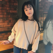 Soft sister Harajuku BF bat sleeve sweater short wind female students in the spring of 2017 Korean Japanese Korean ulzzang