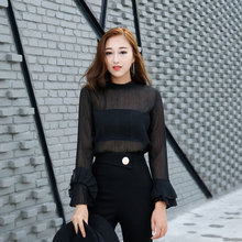 Jiang Xiaomao sexy female perspective chiffon shirt 2017 autumn horn caftans loose gauze transparent coat