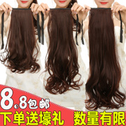 Female long hair wig ponytail short straight pear fake ponytail bandage type wavy hair extensions lifelike