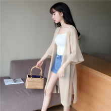 sunscreen cardigan jacket female ice silk sweater sweater summer thin female loose in the long section Shawl air conditioning lazy wind