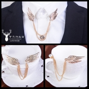 Korean version of high-grade inlaid diamond angel wing brooch male tassel brooch chain collar needle buckle suit badge pin Accessories
