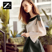 ZK bow collar Sleeve Chiffon shirt Strapless small shirt jacket cover belly backing female 2017 fall BC