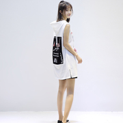 A thin section of BF wind loose long sleeveless sweater girl summer sleeve head hooded Monogrammed Shirt Dress Vest